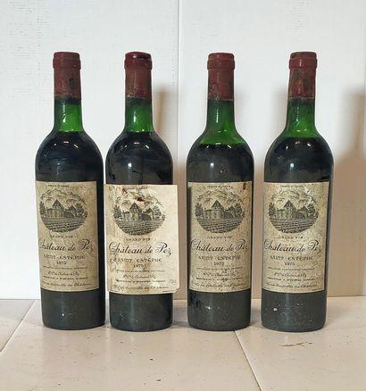 4 bouteilles  Château de PEZ  1975  Etiquettes...