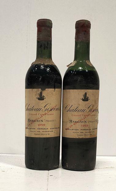 2 bouteilles  Château GISCOURS - 3e Gcc Margaux...