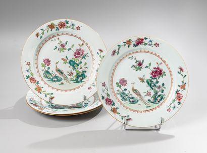 CHINE, Compagnie des Indes, XVIIIe siècle  Ensemble de 6 assiettes en porcelaine...