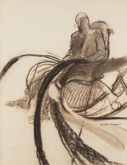 Sam SZAFRAN (1934-2019)  Homme assis dans un fauteuil à bascule, 1965.  Crayon bistre...