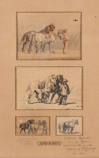 Attribué à Alfred de DREUX (XIXe siècle)  Etudes de chevaux  4 dessins dans un même...