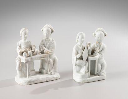 CHINE, période Kangxi, XVIIIe siècle  Deux groupes en Blanc de Chine, représentant...