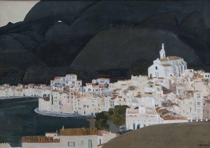 Shigeyoshi KOYAMA (Né en 1940)  Village espagnol, 1978  Huile sur toile.  Signée...
