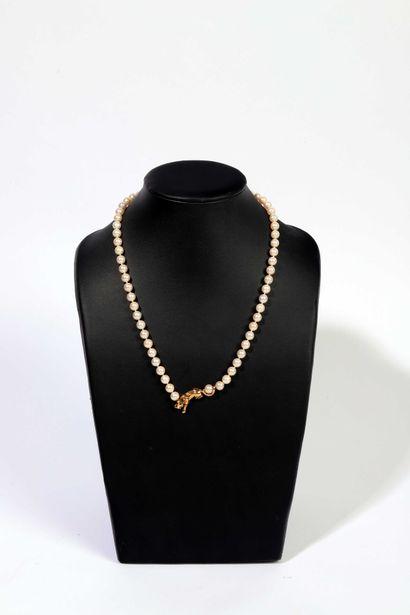 Cartier  Collier de perles de culture centré par la panthère -emblème  de la maison-...