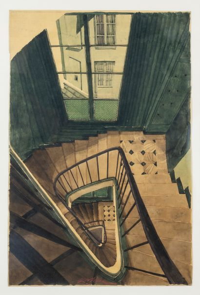Sam SZAFRAN (1934-2019)  Escalier, 1990  Aquarelle...