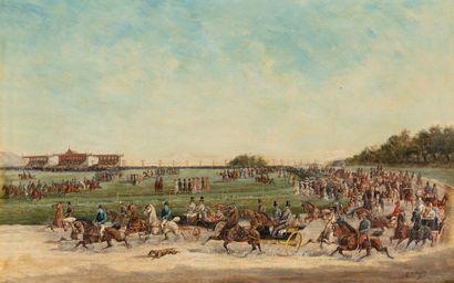PELLEGRIN (XXe siècle)  Arrivée des attelages au champ de course.  Huile sur toile....