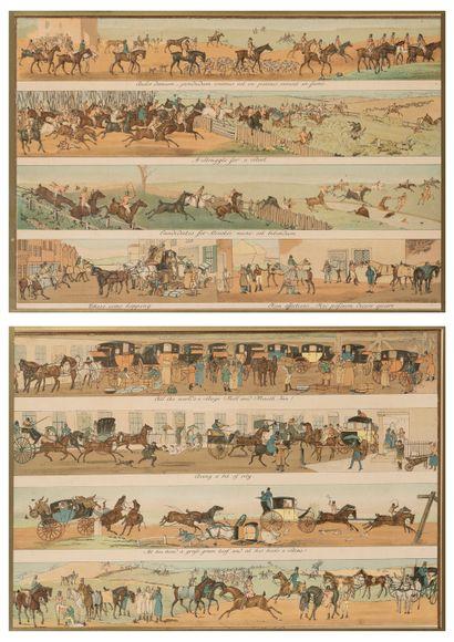École Française du XXe siècle  Scène de chasse à courre humoristique en quatre  registres...