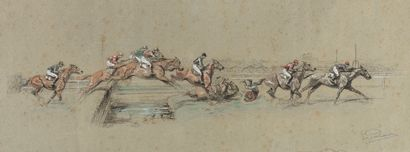 Eugène PÉCHAUBES (1890-1967)  Saut d'obstacle et Scène de polo.  Procédé contresigné....