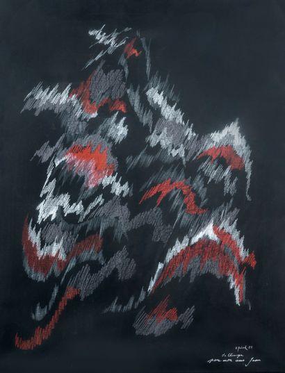 Pedro MORENO-MEYERHOFF  (Né en 1954)  La chunga, 1967  Pastel sur papier noir.  Signé,...