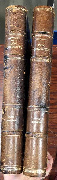 Don quichotte, CERVANTES  2 volumes in folio,...