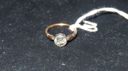 Bague en or jaune 18K sertie d'un diamant...