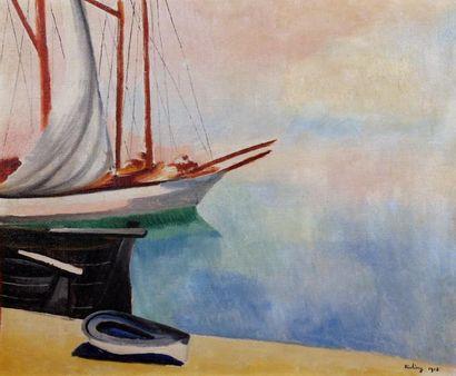 Moïse KISLING (1891-1953) Port de Marseille, 1918, un quai du vieux port Huile sur...