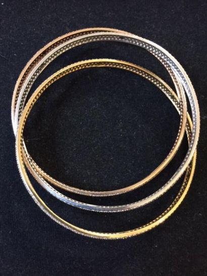 Bracelets trois ors 14K (585°/00) composé...