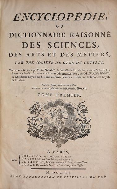 DIDEROT et D'ALEMBERT. Encyclopédie, ou...