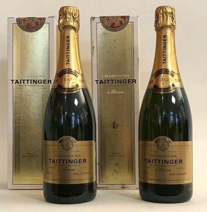 2 bouteilles CHAMPAGNE TAITTINGER brut 1995...