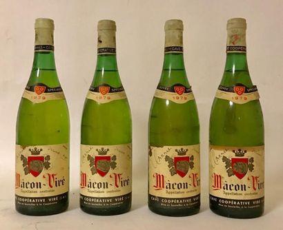 4 bouteilles MACON VIRÉ - Cave de VIRE 1979...