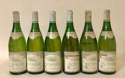 6 bouteilles MACON VILLAGES - LA CHEVALIERE...