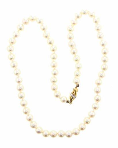 Collier choker de 61 perles de culture. Diamètre:...