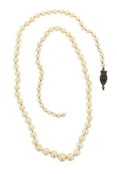 Collier composé de 84 perles de culture en...