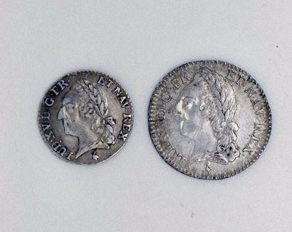 Louis XV (1715-1774). Dixième d'écu à la...