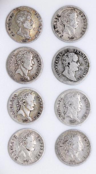 Napoléon I (1804-1814). Lot de huit demi-francs...