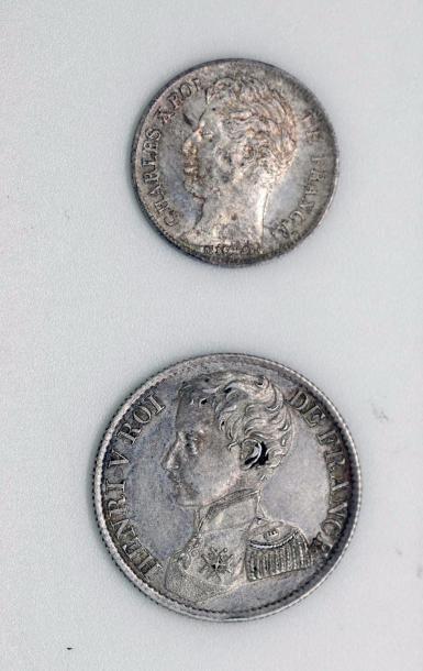 CHARLES X (1824-1830). Lot d'un demi-franc...
