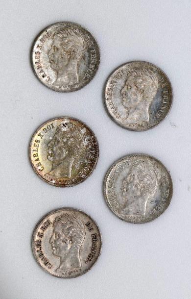 CHARLES X (1824-1830). Lot de cinq quarts...