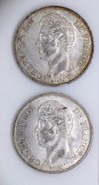 CHARLES X (1824-1830). Lot de deux 5f, 1830...