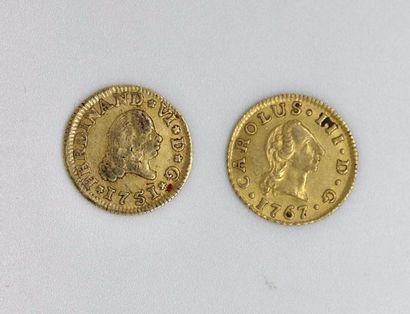 ESPAGNE. Lot de 2 pièces d'un escudo en or...