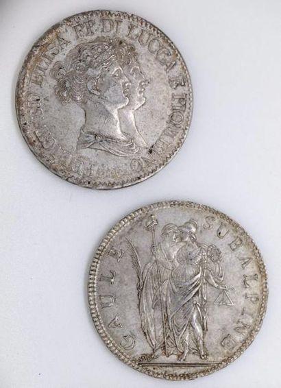 ITALIE. Lot de 2 écus d'argent: 5 francs...