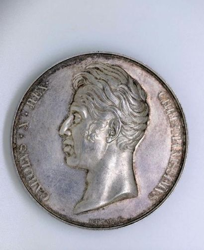 SACRE DE CHARLES X. Médaille d'argent (50mm)...
