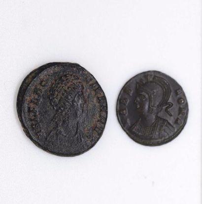 ROME, Empire. Lot de deux bronzes pour Aelia...