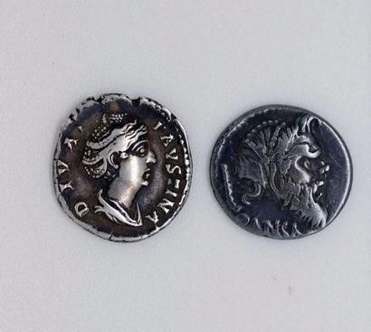 ROME. Lot de 2 deniers de l'empire pour FAUSTINE...