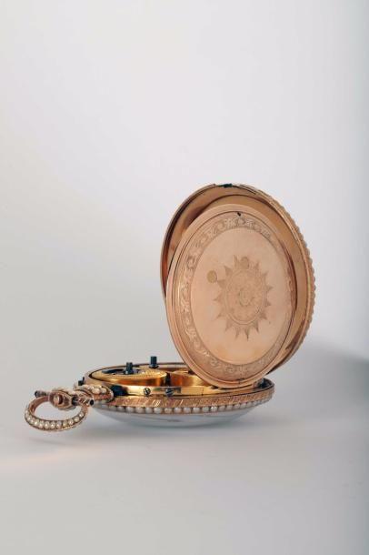 Montre en or émaillé à duplex signée 'Ilbery London 6042', vers 1815. Cadran en...