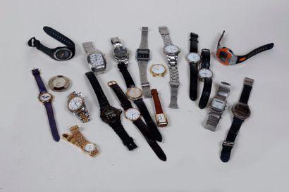 Lot de vingt montres bracelets récentes,...