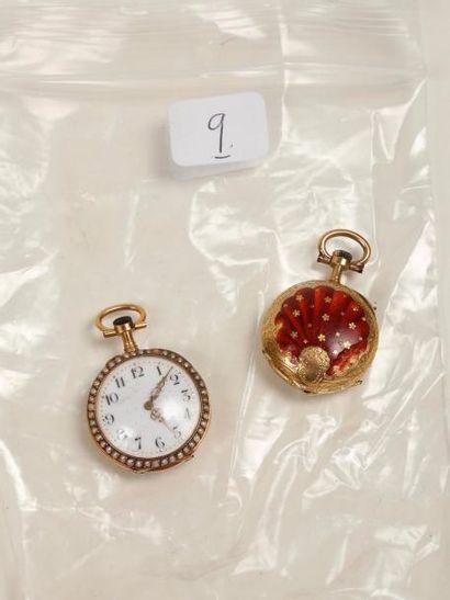 Deux montres de col en or dont une sertie...