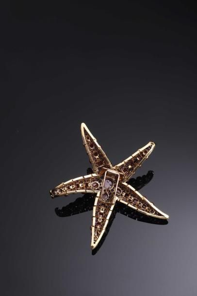 René Boivin, modèle «Etoile de mer» Broche en forme d'étoile de mer à cinq branches...