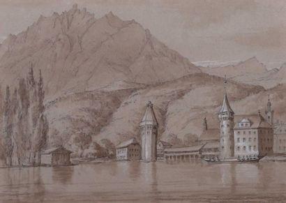 Lucerne, Le château Gütsch (?) et paysans...