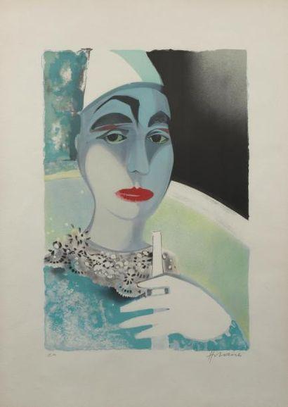 H.74 x 52 cm. HILAIRE Camille 1916 - 2004, Scène de cirque. Deux lithographies couleurs,...