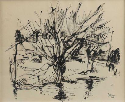Roland LEFRANC (1931-2000) Arbres en hiver et bâteaux au Gilvinec Deux encres sur...