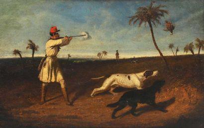 Philippe LEDIEU (vers 1805-v.1827?) Scène de chasse à la perdrix, Afrique du Nord...