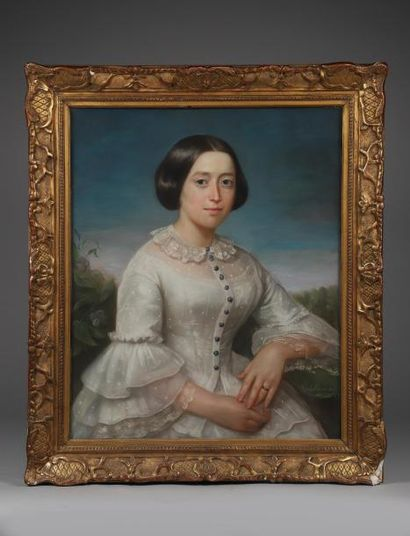 H.73 x 60 cm. CHAMAGNE C. Portrait de de jeune-fille en robe de tulle et dentelles....