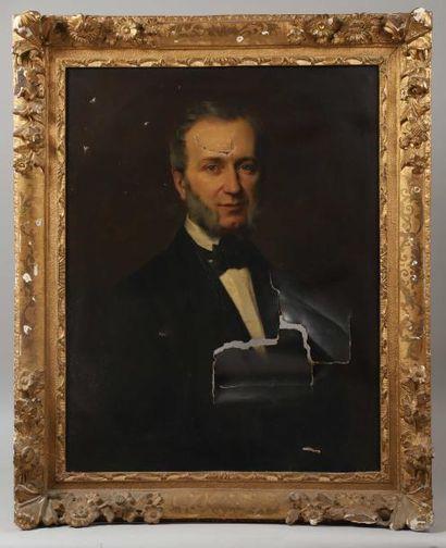 ECOLE FRANCAISE DU XIXème siècle Portrait d'homme, Jean-Jacques-Charles LAMOUREUX...