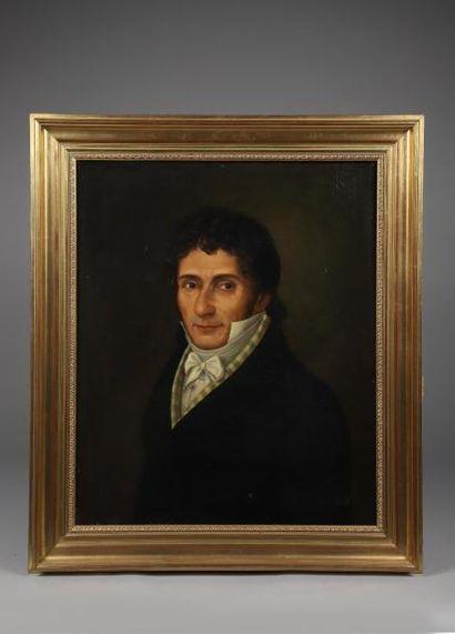H.65 x 54,5 cm. Ecole française du XIXème siècle. Portrait d'homme en buste. Huile...