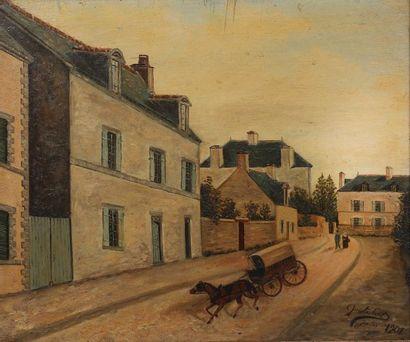 GUISTREBERT Jules Paysage à la calèche Signé et daté en bas à droite 1901 Griffures...