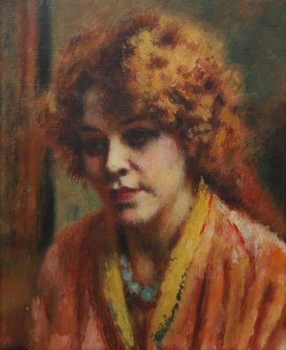 Charles GUERIN (1875-1939) Portrait de femme Huile sur toile. Non signée. 38 x 46...