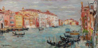 Serge BELLONI (1925-2005) Gondoles sur le Grand Canal, Venise Huile sur panneau....
