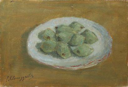 Pierre KLEMEZYNSKI (1910-1991) Nature morte aux prunes Huile sur toile. Signée en...