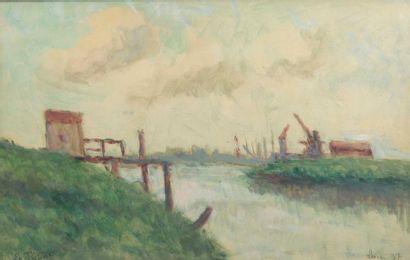 Maximilien Luce (1858-1941) Péniche au port Technique mixte Signée en bas à gauche...
