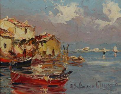 H.21 x 35 cm. A. SALOMON Le tropézien (XXème...